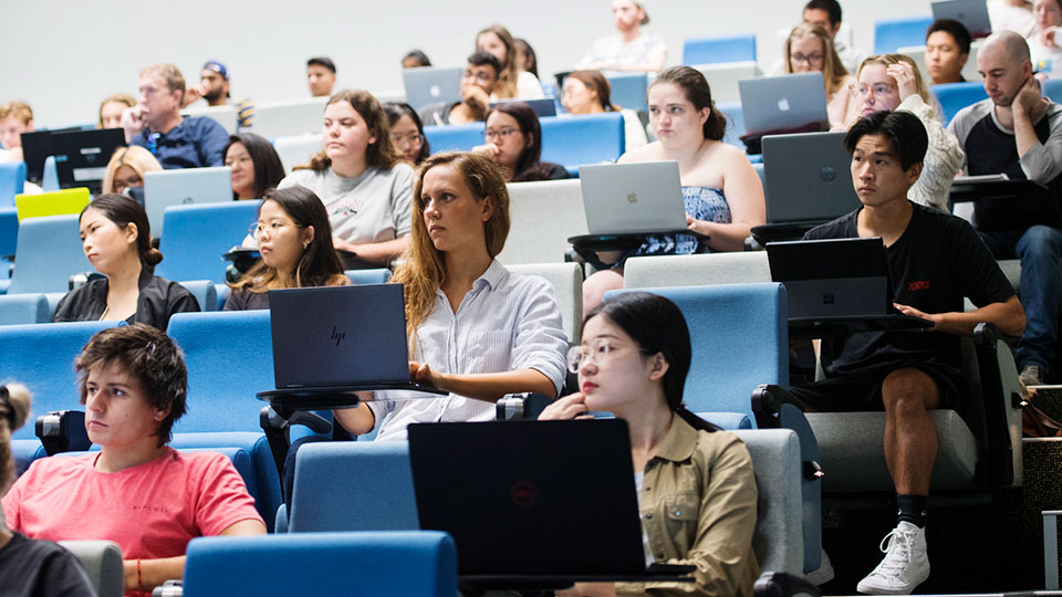 Group of students in lecture theatre