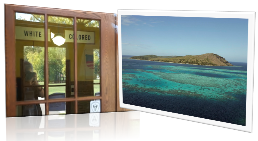 door frame and framed photo of island