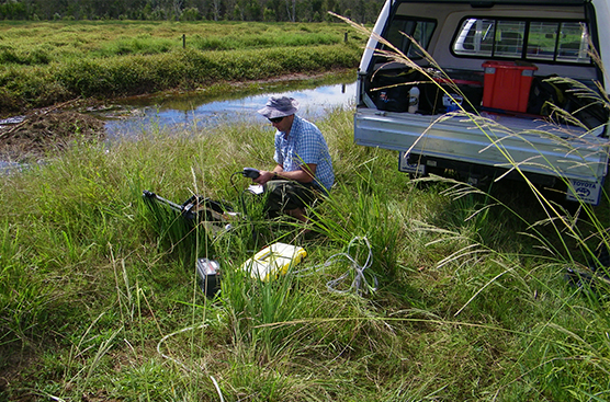 A member of the research team testing groundwater in the Richmond River catchment.