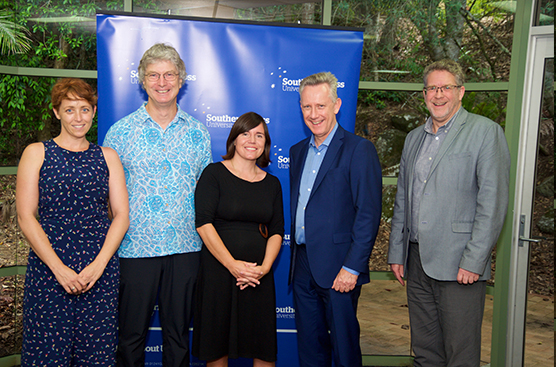 Vice Chancellor Professor Adam Shoemaker (right) with (clockwise) Dr Hanabeth Luke, Dr Rebecca Olive and Dr Rob Garbutt, and Professor Andrew McAuley, Deputy Vice Chancellor (Education).