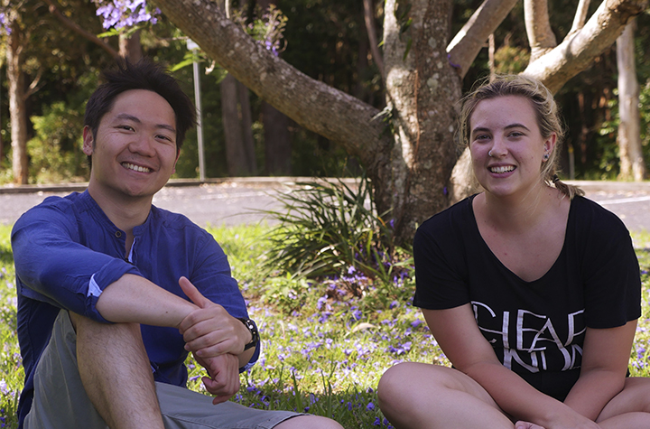 Psychology students Kevin Lee and Kaitlyn Atreed