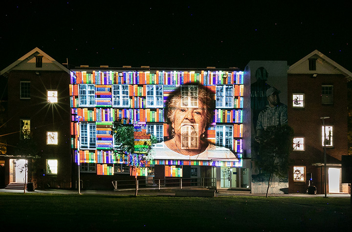 Dungarimba Wandarahn projection on building Credit Katie Holmes