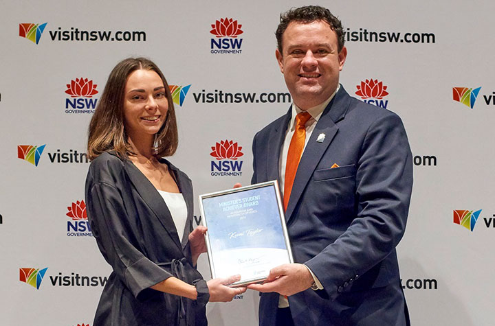 Kumi Taylor with NSW Tourism Minister at 2019 Student Achiever Awards