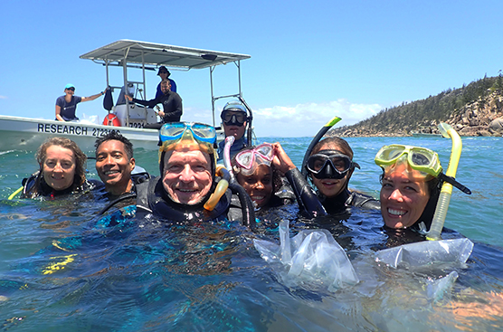 Professor Harrison and a team of researchers at Magnetic Island