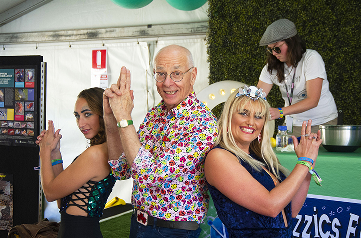 Splendour Science Tent 2019. Southern Cross University PhD researchers Laura Stoltenberg (left) and Sophie Pryor with popular science communicator Karl Kruszelnicki AM, more commonly known as Dr Karl.