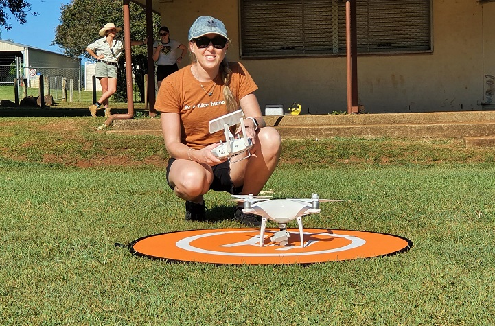 Southern Cross PhD student Grace Russell, drone training in Alstonville.