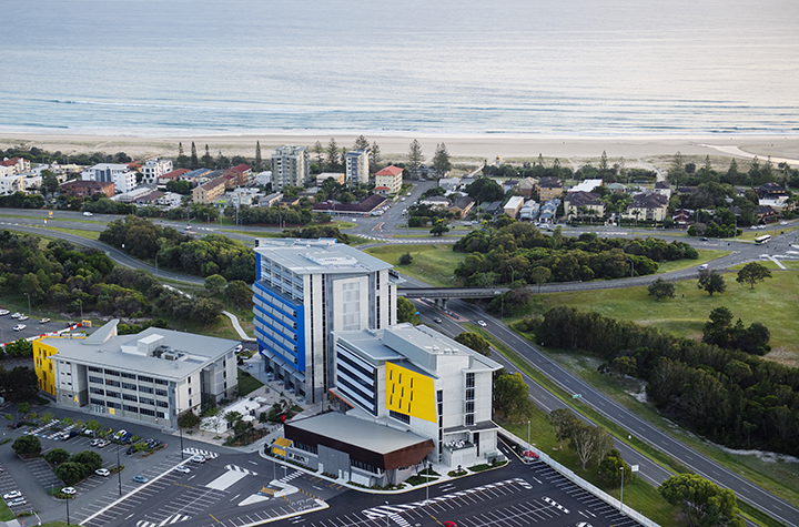 Gold Coast campus aerial overlooking North Kirra beach