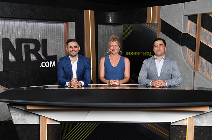 Katie Brown on the Inside the NRL set w Michael Chammas and Jamie Soward in 2020