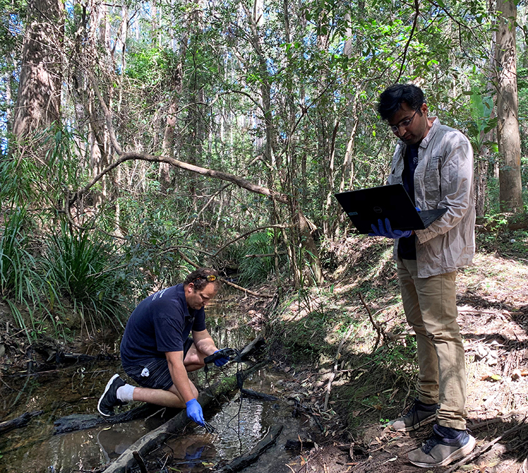Water sampling in Coffs coast catchment with Shane White and Praktan Wadnekar