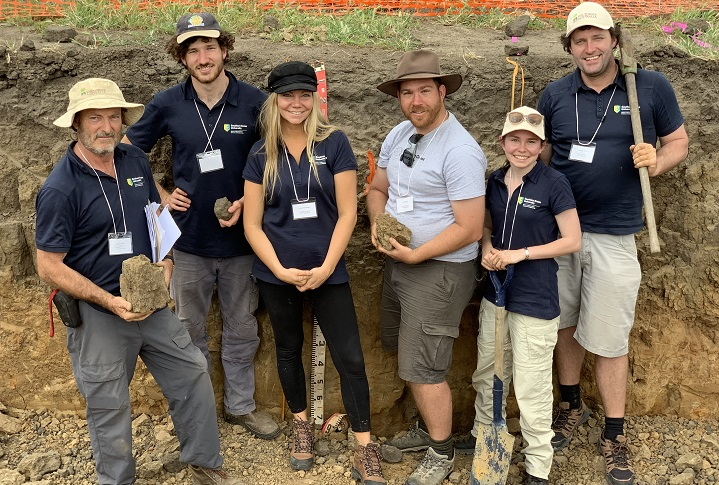 Soil team during the competition. From left Dr John Grant, Luke Danaher, Lisa Henriksen, Tim Field, Christie Magarry and Shannon Waddy.