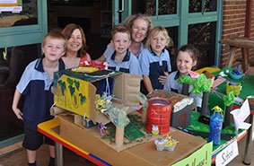 (L-R) Cohen Duncan, Dr Marianne Logan, Heath Tyler, Nikki Wagner, Lilly Cliff and Layla Davidson show off their sustainability projects at St Joseph's Primary School, Alstonville.