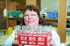 Susan Oeding in the lab.